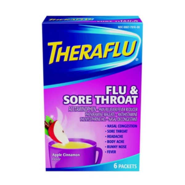 Theraflu Flu & Sore Throat Packets Pain Reliever/Fever Reducer