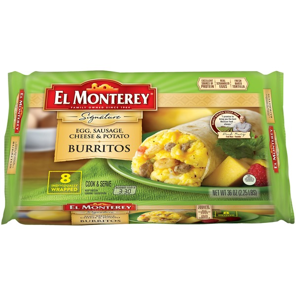 El Monterey Signature Egg, Sausage, Cheese & Potato Burritos