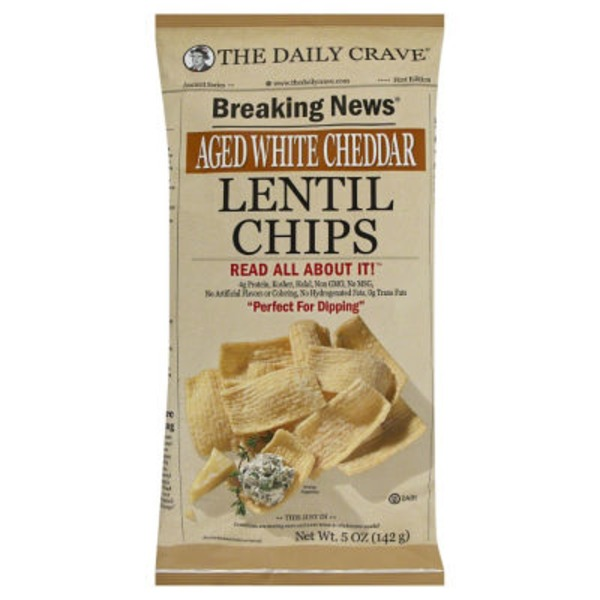 The Daily Crave Lentil Chips, Aged White Cheddar