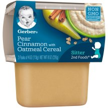 Gerber 2nd Foods Pears & Cinnamon with Oatmeal Baby Food, 4 oz, 2 count