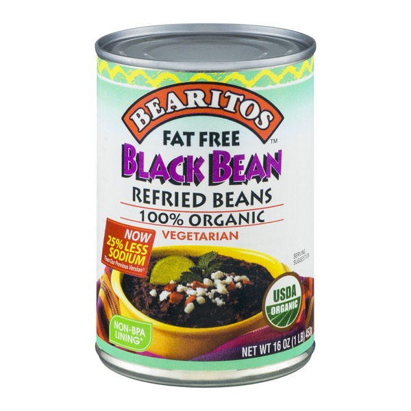 Bearitos Organic Black Refried Beans