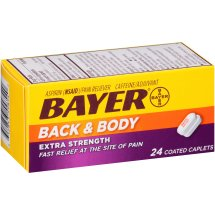 Bayer Back & Body Extra Strength Aspirin, 500mg Coated Tablets, Fast Relief at the Site of Pain, Pain Reliever with 32.5mg Caffeine, 24 Count