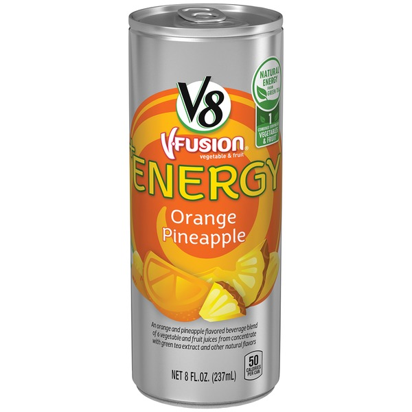 V8 V Fusion +Energy Orange Pineapple Vegetable & Fruit Juice