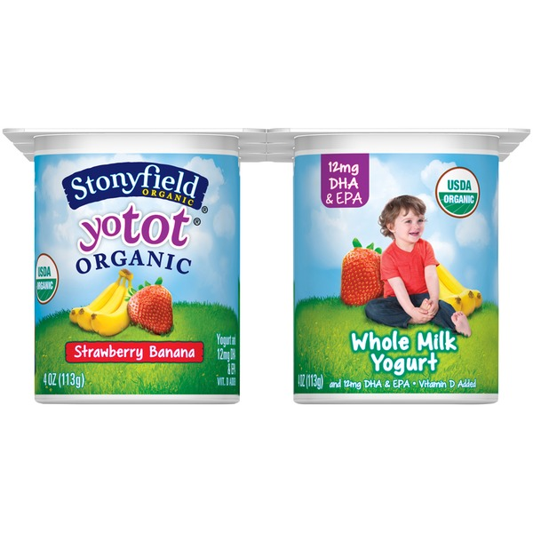 Stonyfield Organic Yotot Strawberry Banana Whole Milk Organic Yogurt