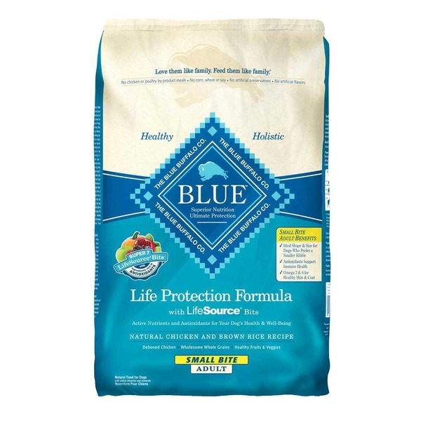 Blue Buffalo Food for Dogs, Natural, Life Protection Formula, Small Bite Adult, Natural Chicken and Brown Rice Recipe