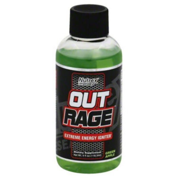 Nutrex Outrage Extreme Energy Shot, Green Apple