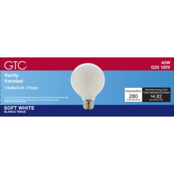 GTC Incandescent G25 40 W Soft White Medium Base Bulb
