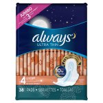 Always Ultra Thin Size 4 Overnight Pads with Wings, Unscented, 38 Count