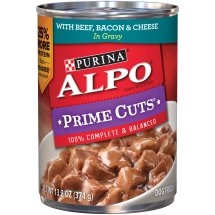Purina ALPO Prime Cuts with Beef, Bacon & Cheese in Gravy Wet Dog Food, 13.2 Oz.