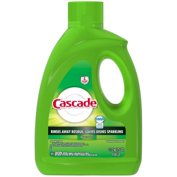 Cascade Gel Dishwasher Detergent, Fresh Scent, 75 Oz Dish Care
