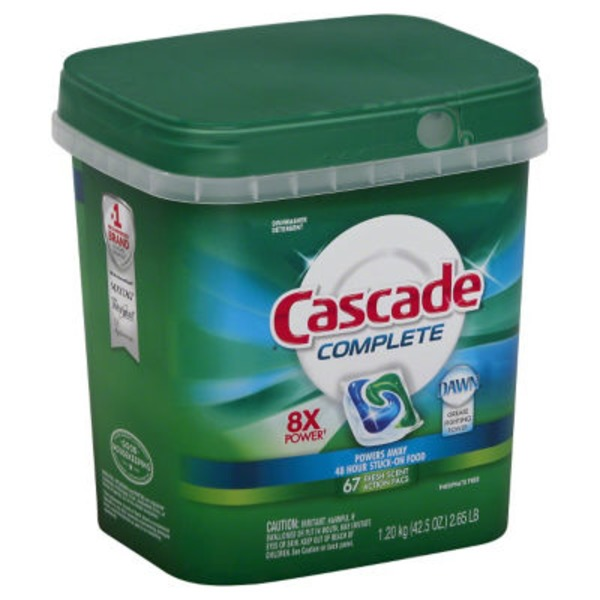 Cascade Complete ActionPacs Dishwasher Detergent Fresh Scent 67 Ct Dish Care
