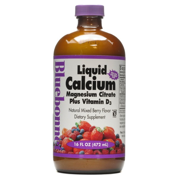 Bluebonnet Nutrition Liquid Calcium Magnesium Citrate Plus Vitamin D3 Mixed Berry