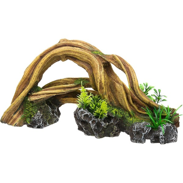 Rock Garden Resin Wood Arch With Plants