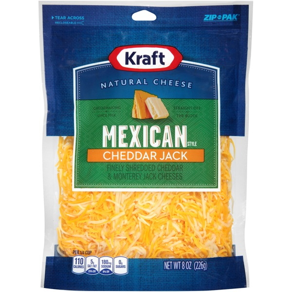Kraft Natural Cheese Shredded Mexican Style Cheddar Jack Cheese
