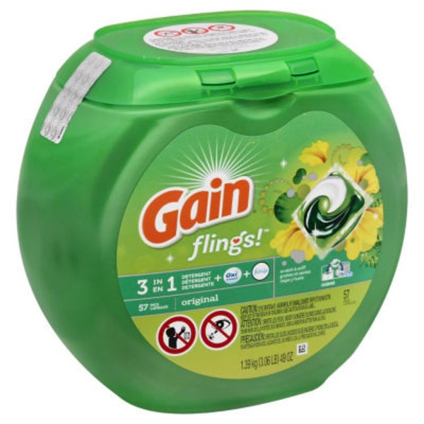 Gain flings! Laundry Detergent Pacs, Original, 57 Count Laundry