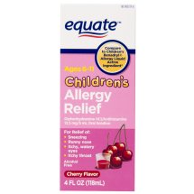 Equate Children's Allergy Relief Diphenhydramine Cherry Suspension, 4 Oz