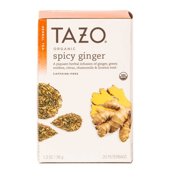 Tazo Tea Organic Spicy Ginger Caffeine-Free Herbal Tea