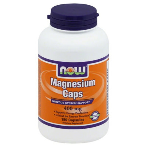 Now Magnesium Caps, Nervous System Support, 400 mg Bottle