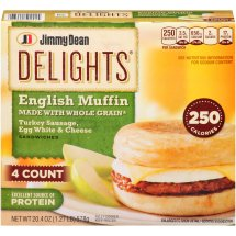 Jimmy Dean Delights English Muffin Turkey Sausage, Egg White & Cheese Sandwiches, 4 count, 20.4 oz