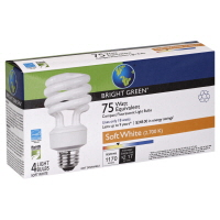 Bright Green Light Bulbs Compact Fluorescent Soft White 75 Watt