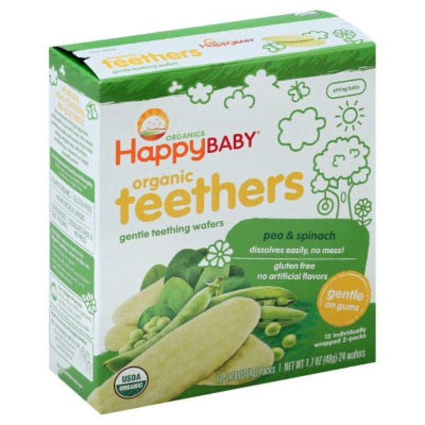 Happy Baby/Family Organics Organic Teethers Pea & Spinach Gentle Teething Wafers