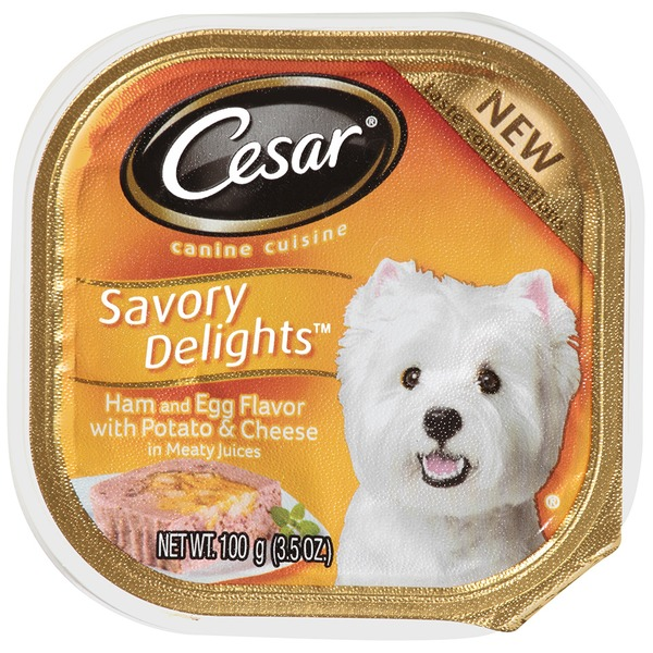 Cesar Savory Delights Ham & Egg Flavor with Potato & Cheese in Meaty Juices Wet Dog Food