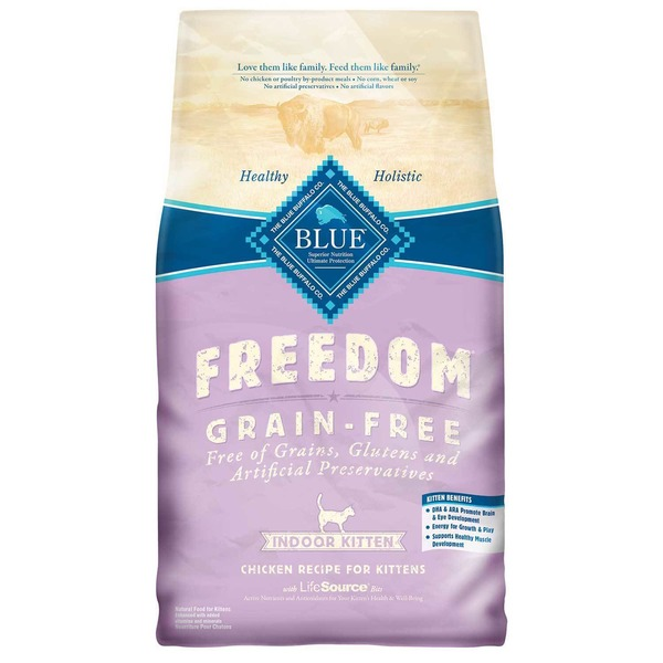 Blue Buffalo Freedom Grain-Free Indoor Kitten Chicken Recipe for Kittens With LifeSource Bits