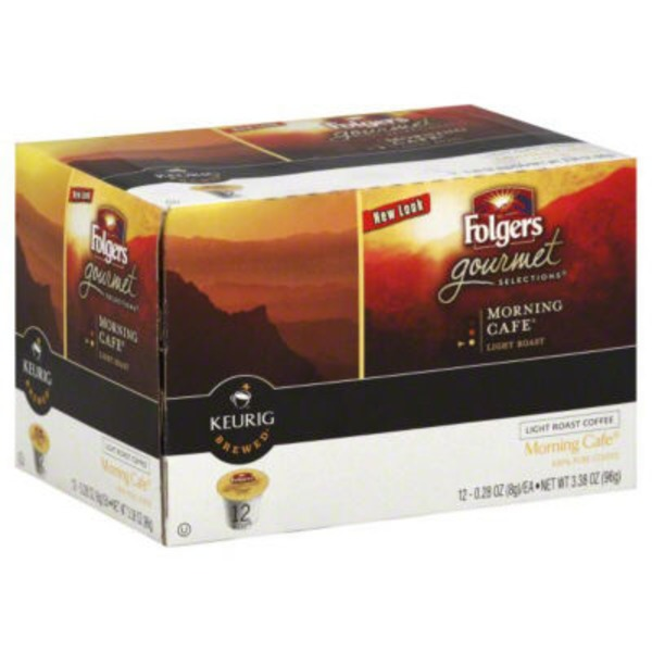 Folgers Gourmet Selections Morning Cafe Light Roast Coffee, K-Cups