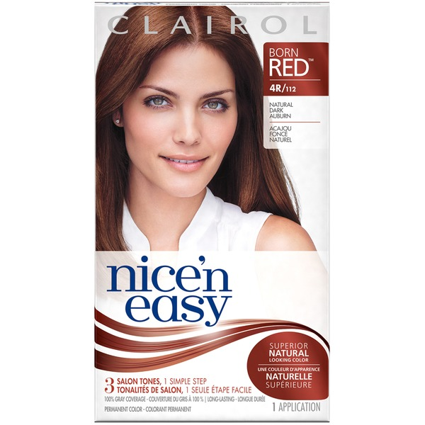 Clairol Nice 'N Easy Permanent Hair Color 4R Natural Dark Auburn 1 Kit Female Hair Color