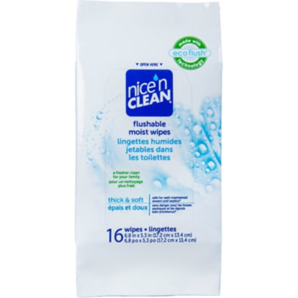 Nice 'N Clean Flushable Moist Wipes - 16 CT
