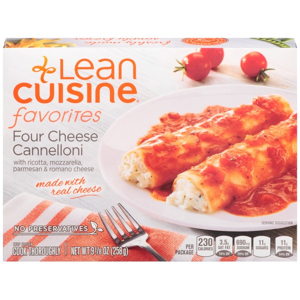 Lean Cuisine Favorites Four Cheese Cannelloni with ricotta, mozzarella, Parmesan & Romano cheese. Four Cheese Cannelloni