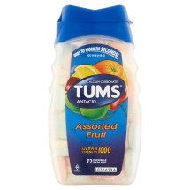 TUMS Antacid Ultra Strength 1000 Assorted Fruit Chewable Tablets, 72 count