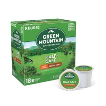Green Mountain Coffee Half Caff Keurig Single-Serve K-Cup pods, Medium Roast Coffee, 18 Count