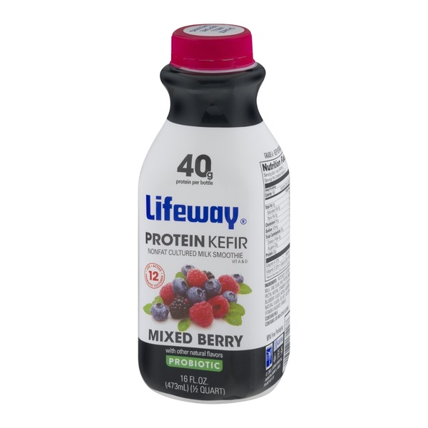 Lifeway Protein Kefir Nonfat Cultured Milk Smoothie Probiotic Mixed Berry