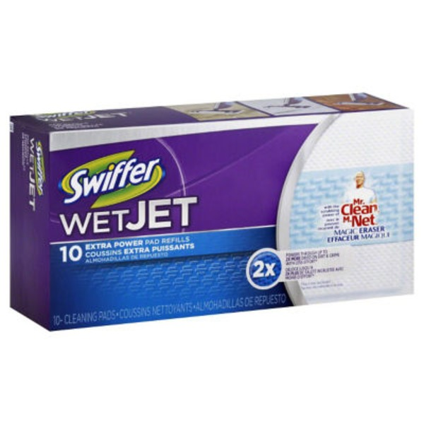 Swiffer WetJet Swiffer WetJet Hardwood Floor Spray Mop Pad Refill Extra Power 10 Count Surface Care
