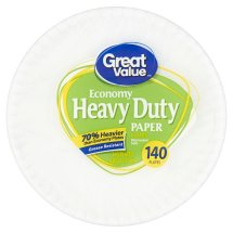 Great Value Heavy Duty Paper Plates, 9', 140 Count