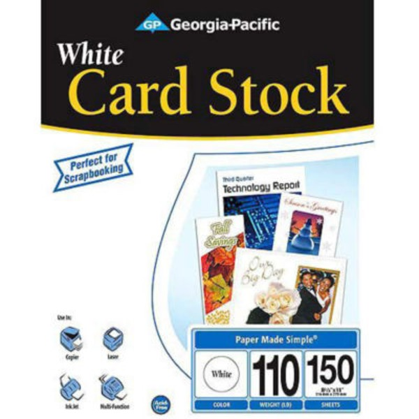 Georgia Pacific White Cardstock Paper 150 Sheets