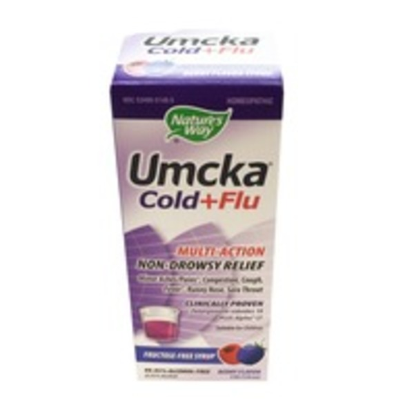 Nature's Way Umcka Cold + Flu Multi-Action Natural Relief Sugar-Free Syrup Berry Flavor