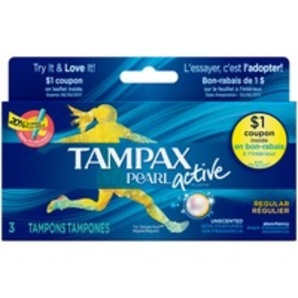 Tampax Pearl Active Tampax Pearl Active Regular Plastic Tampons, Unscented, 3 Ct Feminine Care