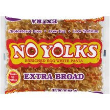 No Yolks Cholesterol-Free Egg White Pasta, Extra Broad Noodles, 12-Ounce Bag