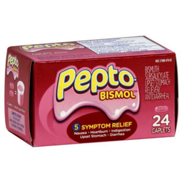 Pepto-Bismol Multi-Symptom Pepto-Bismol Caplets 5 Symptom Medicine -  Including Upset Stomach & Diarrhea Relief 24 Count Stomach Remedy
