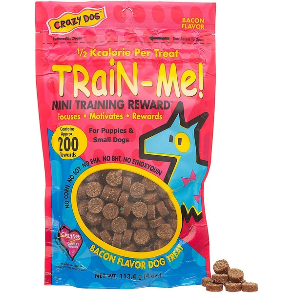 Crazy Dog Train Me Mini Training Reward Bacon Dog Treats