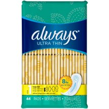 Always Ultra Thin Size 1 Regular Pads Without Wings, Unscented, 44 Count