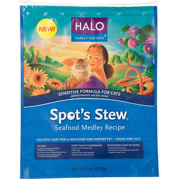 Halo Spot's Stew Sensitive Formula Seafood Medley Recipe Cat Food