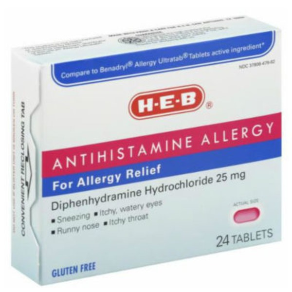 H-E-B Antihistamine Allergy Relief Tablets Diphenhydramine Hydrochloride 25mg