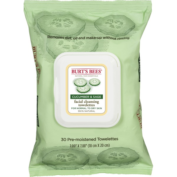 Burt's Bees Facial Cleansing Towelettes Cucumber & Sage - 30 CT