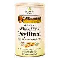 Organic India Whole Husk Psyllium 100% Certified Organic Fiber Dietary Supplement