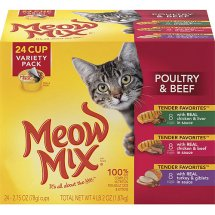 Meow Mix Tender Favorites Poultry & Beef Wet Cat Food Variety Pack, 2.75-Ounce Cups (Pack of 24)