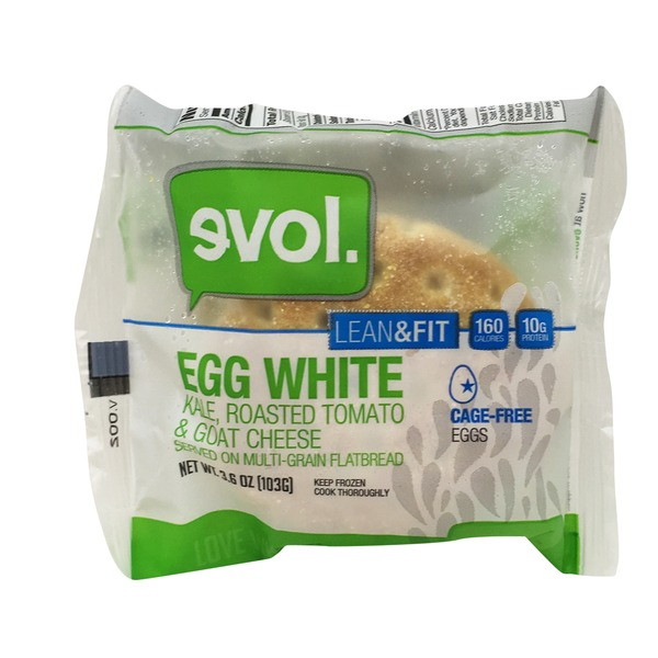 Evol Foods Lean & Fit Egg White, Kale, Roasted Tomato & Goat Cheese Multi-Grain Flatbread Sandwich