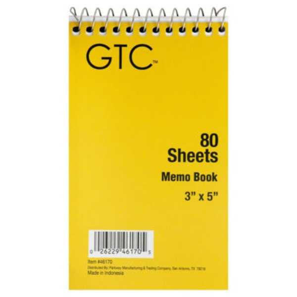 GTC Memo Book 80 Sheets, 3 in X 5 in